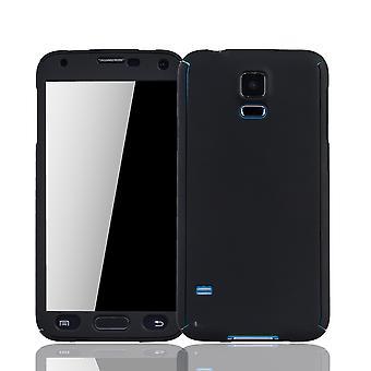 Samsung Galaxy S5 / S5 Neo Handy-Hülle Schutz-Case Panzer Schutz Glas Schwarz