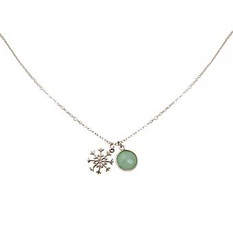 Damen - Halskette - Anhänger - SCHNEEFLOCKE - 925 Silber - Chalcedon - Grün - Meeresgrün - 1,3 cm