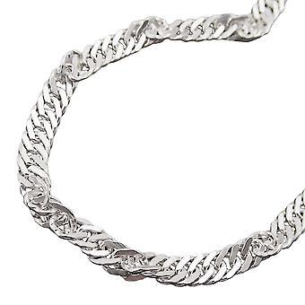 3, 3mm Singapore keten diamant 925 zilveren 50cm