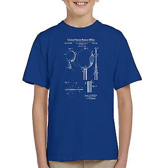 Ping Pong Paddle Table Tennis Bat Patent Blueprint Kid's T-Shirt