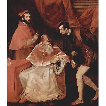 Pope Paul III, Cardinal Alessandro Farnese and, Titian, 60x50cm