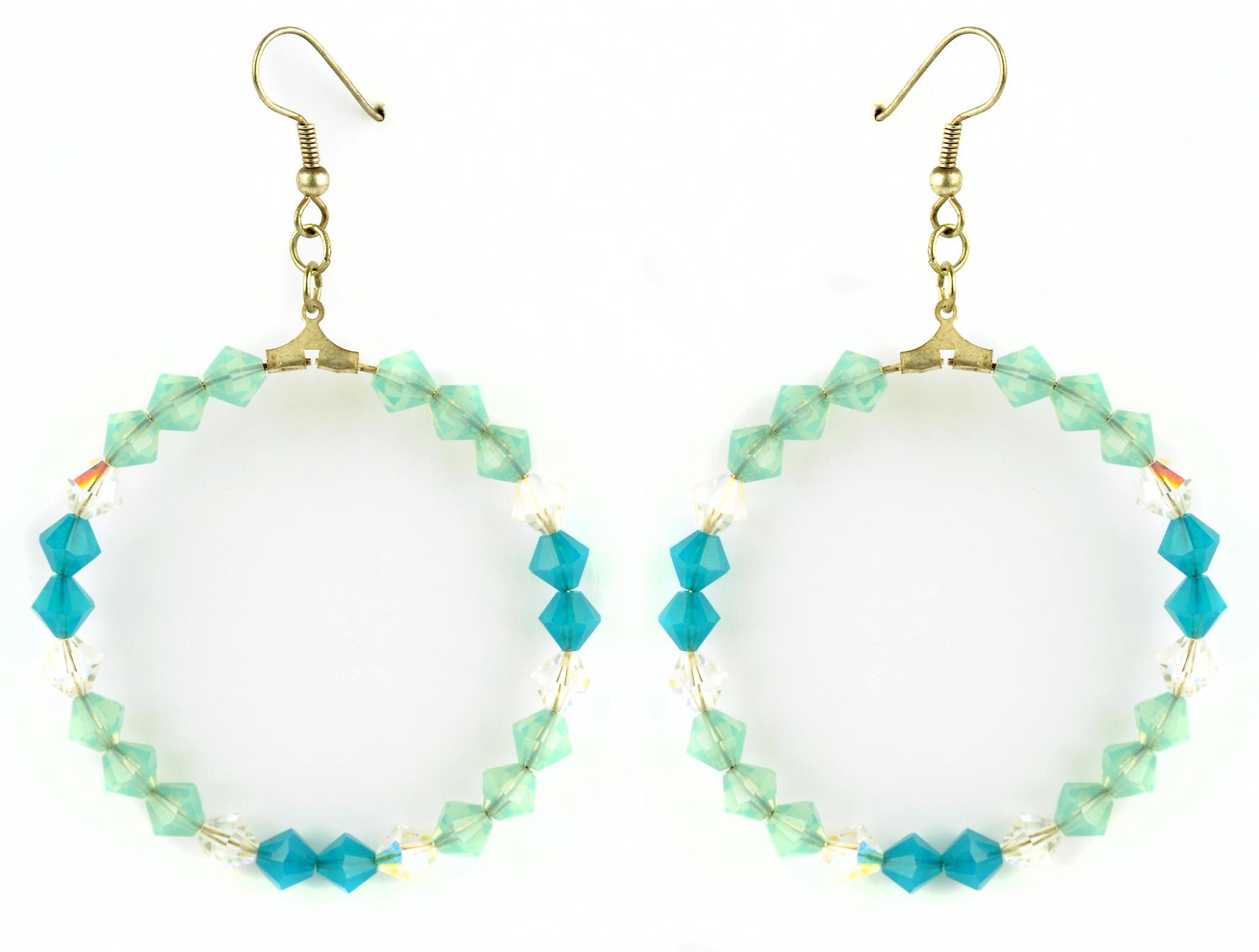 Waooh - sieraden - WJ0764 - stijl Creools met wit groen blauw Swarovski crystal oorbellen