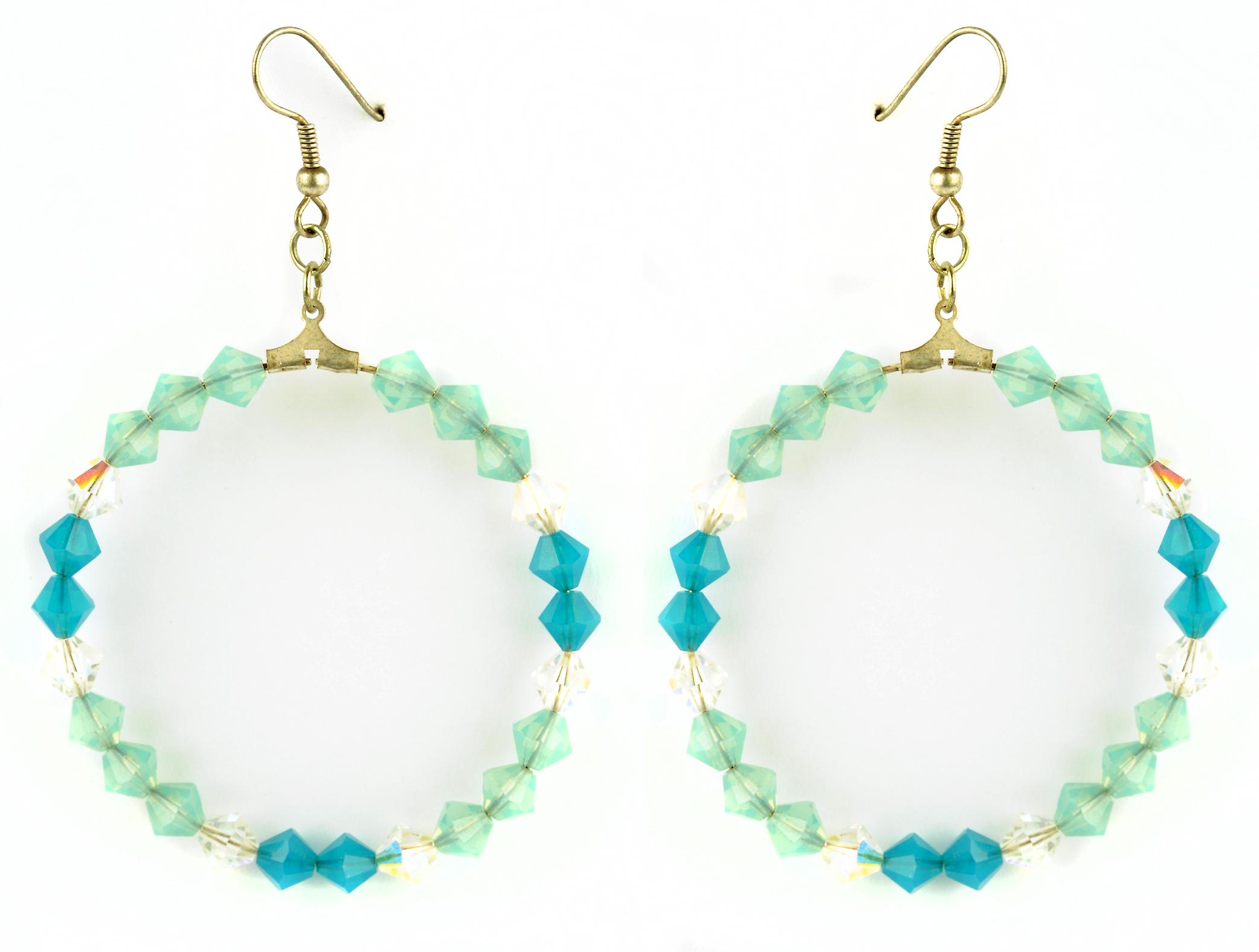 Waooh - Bijoux Fantaisie - WJ0764 - Boucles D'Oreille Style Créole avec Strass Swarovski Bleu Blanc Vert