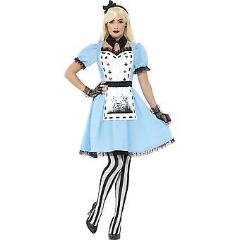 Costume Deluxe partito di tè scuro, blu, con il vestito, attaccato in grembiule, collare, collant & archetto