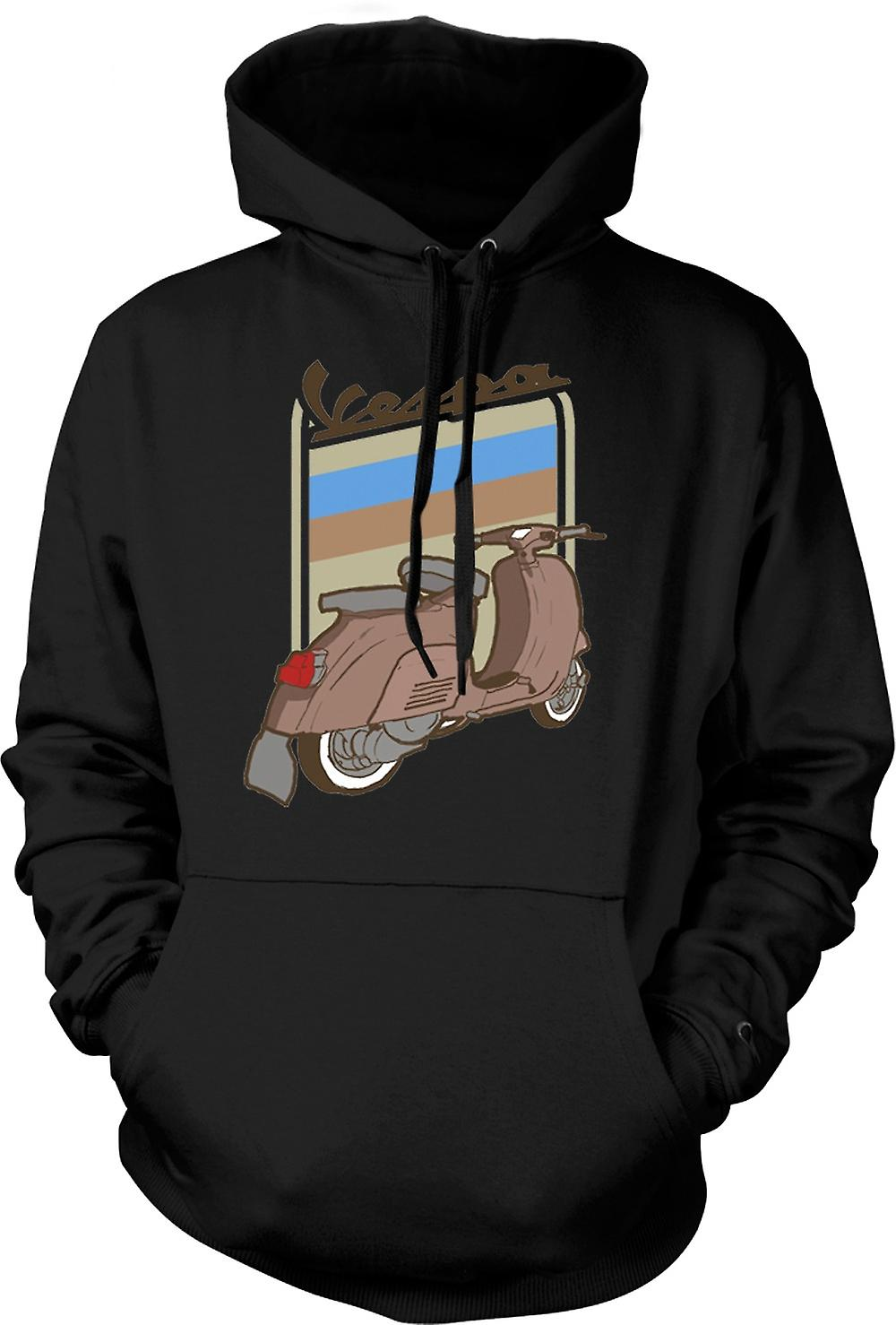 Mens Hoodie - Vespa Scooter Brown Vespa - Pop Art