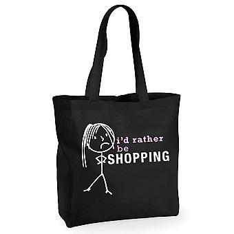 Ladies I'd Rather Be Shopping Black Cotton Shopping Bag