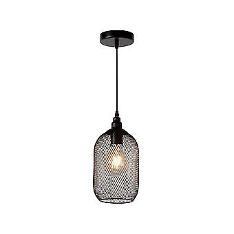 Lucide Mesh Vintage Round Metal Black Pendant Light