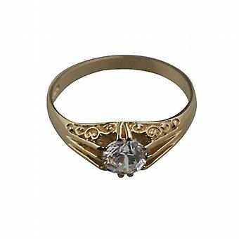 9ct Gold CZ set with carved shoulders dress Ring Size R