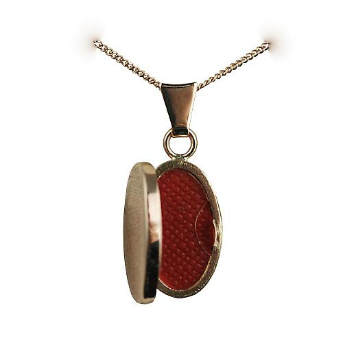 9ct Rose Gold 18x11mm plain oval Locket with a curb Chain 16 inches Only Suitable for Children