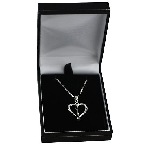 Silver 18x18mm initial L in a heart Pendant with a rolo Chain 14 inches Only Suitable for Children