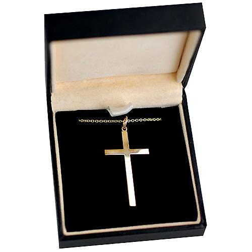 9ct Gold 33x20mm hand engraved block Cross with Cable link chain