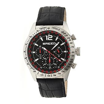Breed Griffin Leather-Band Chronograph Men's Watch-Silver/Black