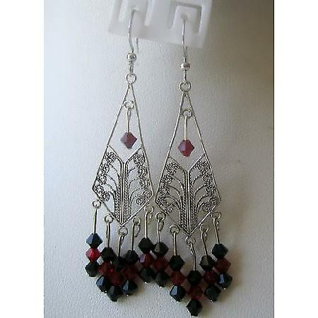 Jet & Garnet Crystals Chandelier In Sterling Silver 92.5