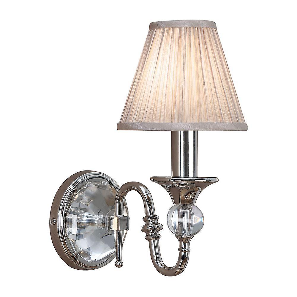 Polina Nickel Single Wall Light With Beige Shade - Interiors 1900 63596