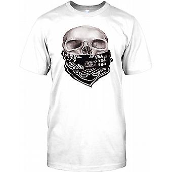 Cool Biker Skull With Bandana -  Kids T Shirt