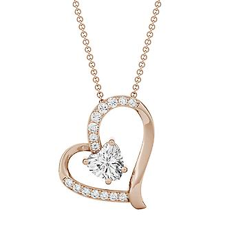14K Rose Gold Moissanite by Charles & Colvard 6mm Heart Pendant Necklace, 1.05cttw DEW