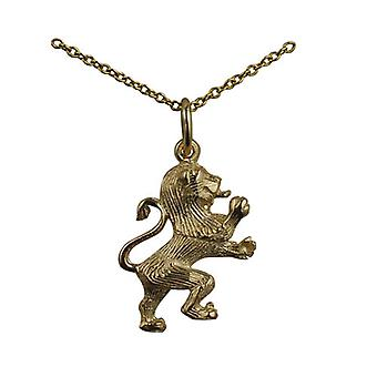 9ct Gold 19x15mm Rampant Lion Pendant with a cable Chain 16 inches Only Suitable for Children