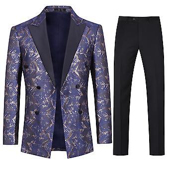Allthemen Hommes Tuxedos 2-Pieces Suits Gold Wire Wedding Party Blazer-Pantalon