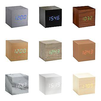 Gingko Cube LED Click Clock Alarm Clock With Sound Activation (Time, Date & Temperature),Rechargeable with USB Adaptor Lead, Various Colours