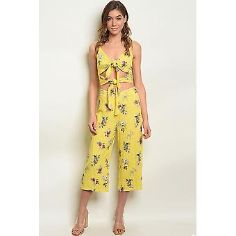 Womens yellow floral top & pants set
