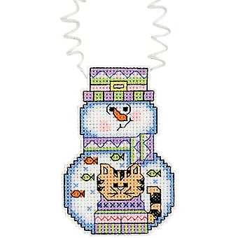Holiday Wizzers Snowman With Cat Counted Cross Stitch Kit 3