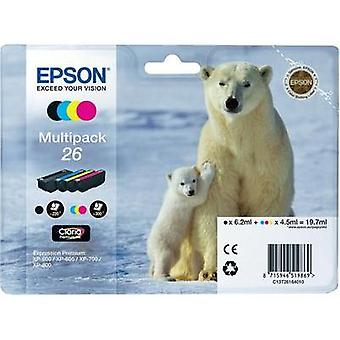 Epson Ink T2616, 26 Original Set Black, Cyan, Magenta, Yellow C13T26164010