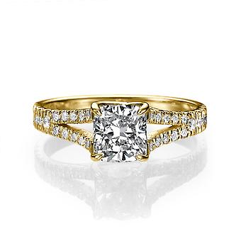 1 1/2 Carat H SI2 Diamond Engagement Ring 14k Yellow Gold Split Shank Diamond Ring Princess Cut