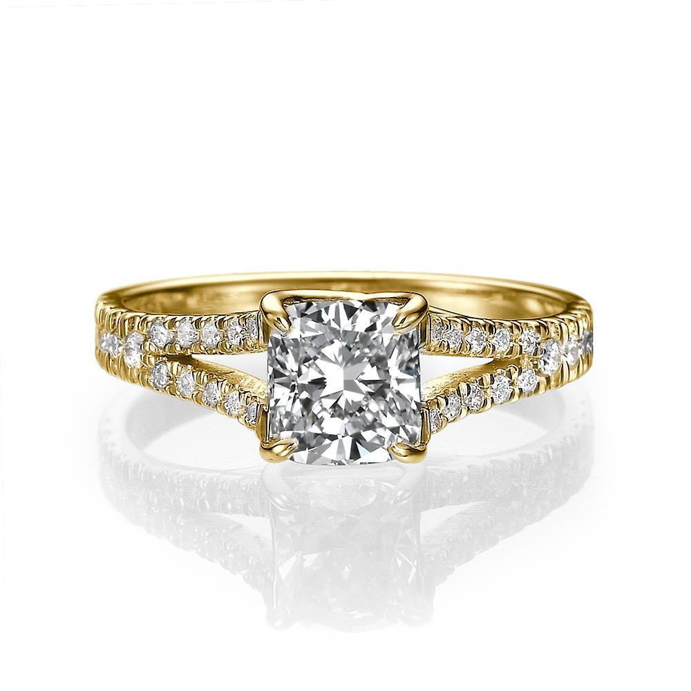 1 3 4 Carat G SI1 Diamond Engagement Ring 14k jaune or Split Shank Diamond Ring Princess Cut