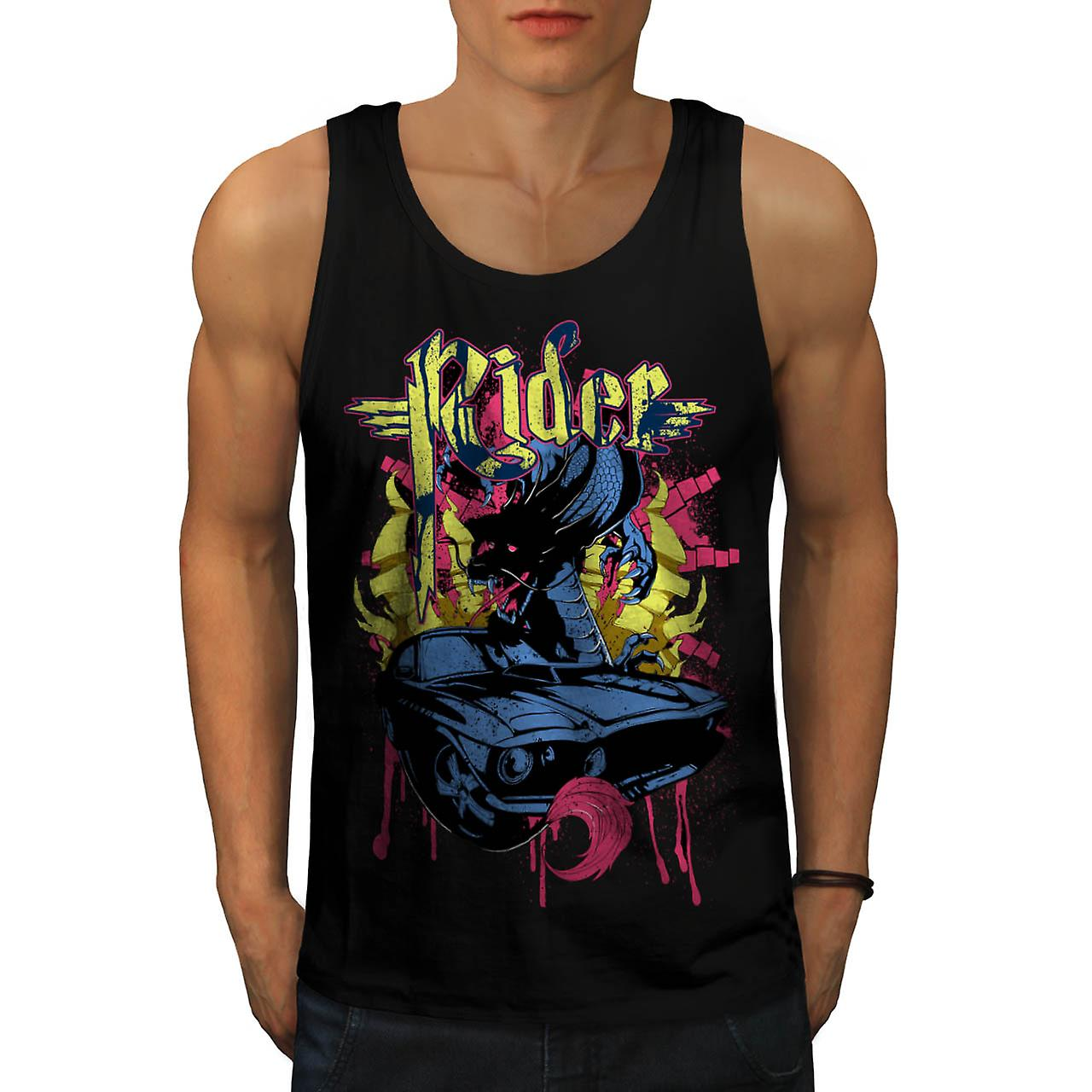 Dragon Motor Car Ride Automobile Men Black Tank Top | Wellcoda