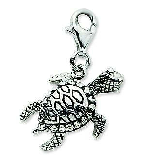 Sterling Silver Click-on Antiqued Turtle Charm - 3.8 Grams - Measures 25x19mm