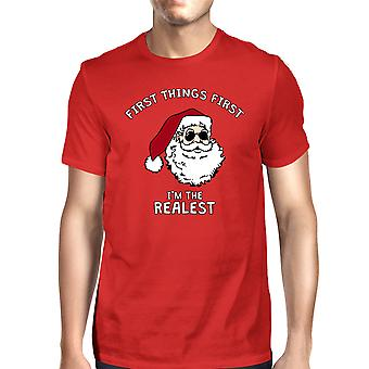 Realistic Santa Red Men's T-shirt Christmas Gift Funny Shirt