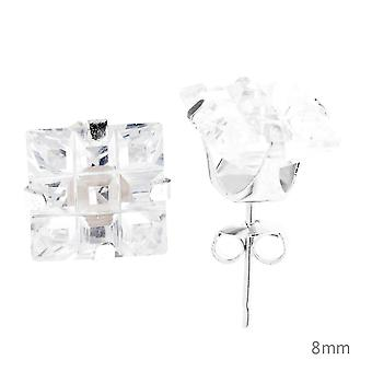 925 sterling silver iced out earrings - SQUARE CUT