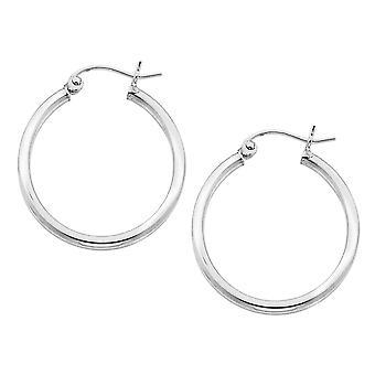 Hoop Earrings in Sterling Silver 1.0 Inch (2.0mm)