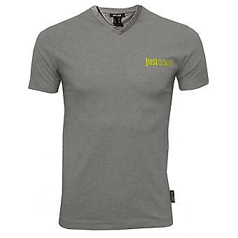 Just Cavalli Logo v-hals T-Shirt, Melange grå