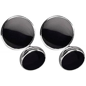 Orton West Silver Plated Onyx Chain Link Cufflinks - Silver/Black