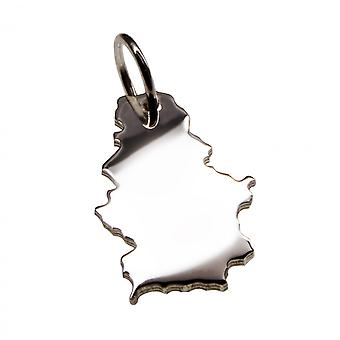 Trailer map Serbia pendant in solid 925 Silver