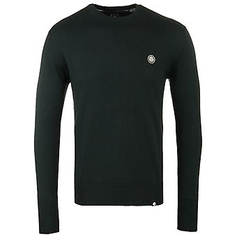Pretty Green Hinchcliffe Green Wool Knitted Crew Neck Sweater