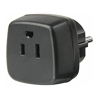 Brennenstuhl travel adaptor, US/jap to the EU, grounded, black