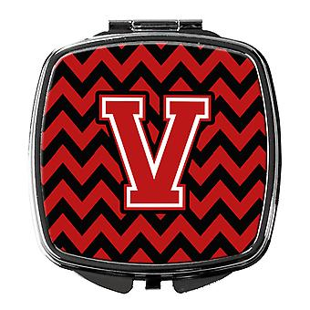 Carolines Treasures  CJ1047-VSCM Letter V Chevron Black and Red   Compact Mirror