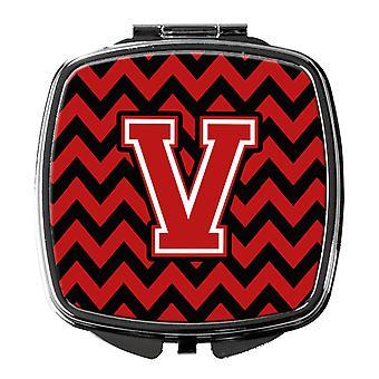 Espejo compacto Carolines tesoros CJ1047 VSCM letra V Chevron negro y rojo