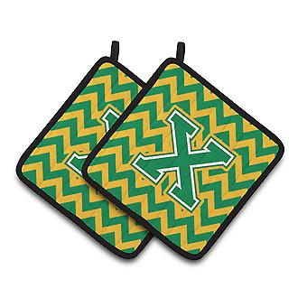 Letter X Chevron Green and Gold Pair of Pot Holders