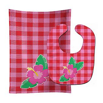 Carolines Treasures  BB8818STBU Beach Flower Baby Bib & Burp Cloth