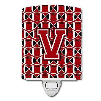 Letter V Football Red, Black and White Ceramic Night Light