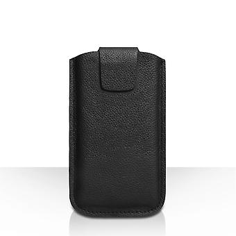 Caseflex Large Real Leather Textured Phone Pouch - Black