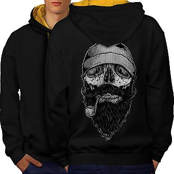 Smoke Beard Skull Men Black (Gold Hood)Contrast Hoodie Back | Wellcoda