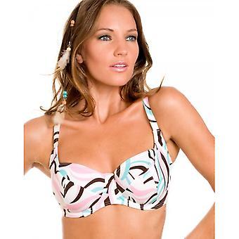 Camille Womens Damen weiß und Pastellfarben wirbeln Print Bügel-Bikini-Oberteil