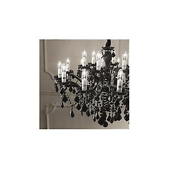 Florian Chrome And Black Glass Twelve Light Chandelier With Crystals - Ideal Lux 139371