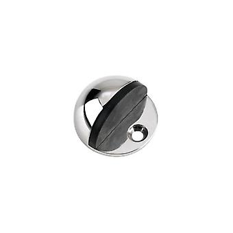 Zoo Door Stop - Floor Mounted - Hollow Oval - Polished Stainless - ZAS06CPS