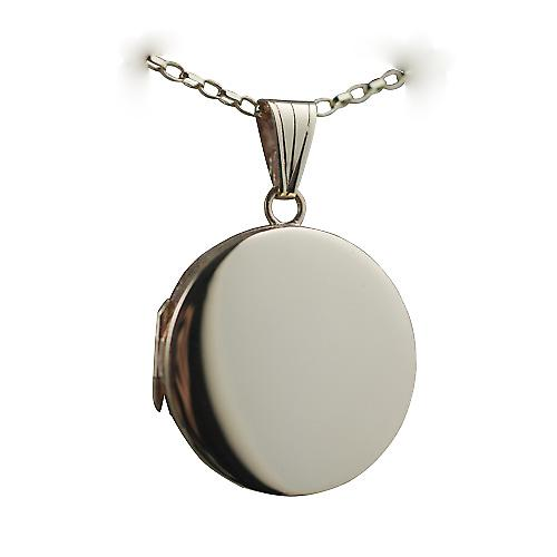 9ct Gold 23mm plain flat round Locket with a belcher Chain 16 inches Only Suitable for Children