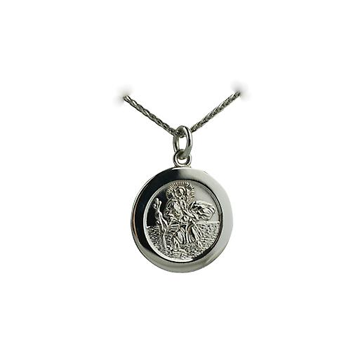 9ct White Gold 21mm round St Christopher Pendant with car boat train plane on back with a spiga Chain 16 inches